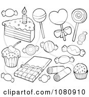 Clipart Outlined Candy And Cake Royalty Free Vector Illustration by visekart