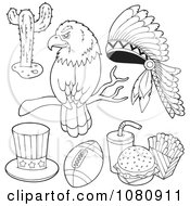 Clipart Outlined Bald Eagle Cactus Headdress Uncle Sam Hat Football And Fast Food Royalty Free Vector Illustration