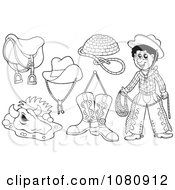 Clipart Outlined Cowboy And Western Gear Royalty Free Vector Illustration