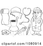 Clipart Outlined Doctor And Medical Items Royalty Free Vector Illustration by visekart