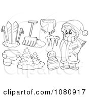 Clipart Outlined Winter Man With Skis Shovel Icicles And A Hat Royalty Free Vector Illustration by visekart