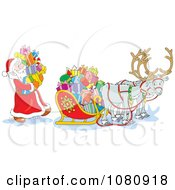 Clipart Santa Loading Gift Boxes Into His Sleigh Royalty Free Vector Illustration by Alex Bannykh