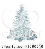 Clipart 3d Silver Blue Christmas Tree With Gift Boxes Royalty Free Vector Illustration
