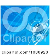 Clipart Blue Globe And Clock Background With Rays Royalty Free Vector Illustration