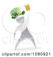 Clipart 3d St Patricks Day Silver Man Splashing Beer Royalty Free Vector Illustration by AtStockIllustration
