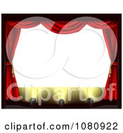 Clipart Blank Theater Screen With Red Drapes And Spot Lights On The Stage Royalty Free Vector Illustration by AtStockIllustration