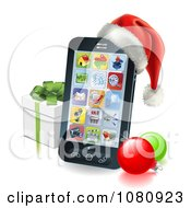 Clipart 3d Cell Phone With A Santa Hat Christmas Baubles And Gift Box Royalty Free Vector Illustration by AtStockIllustration