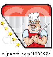 Clipart Chef Pig Holding A Fork Logo With Stars Royalty Free Vector Illustration by Paulo Resende