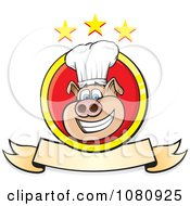 Clipart Smiling Chef Pig Logo With A Banner And Stars Royalty Free Vector Illustration