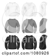 Clipart Set Of White Gray And Black Zip Up Hoodie Sweaters Royalty Free Vector Illustration