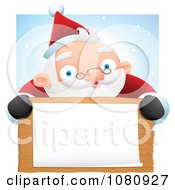 Clipart Chubby Santa Smiling Over A Blank Wooden Sign And White Paper Against Snow Royalty Free Vector Illustration