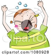 Clipart Chubby Boy Screaming And Candy Flying Out Of His Mouth Royalty Free Vector Illustration