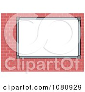 Clipart Blank White Sign Board On A Brick Wall Royalty Free Vector Illustration