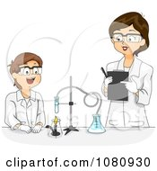 Clipart Female Science Teacher Overlooking A Male Students Chemistry Project Royalty Free Vector Illustration