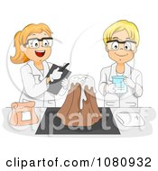 Clipart Male And Female Students Working On A Volcano Science Experiment Royalty Free Vector Illustration
