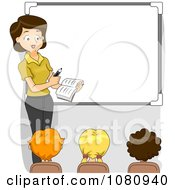 Clipart Female Teacher Teaching By A White Board Royalty Free Vector Illustration by BNP Design Studio