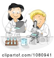 Clipart School Boy And Female Teacher Viewing Samples Through A Microscope Royalty Free Vector Illustration
