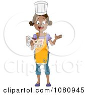 Clipart Black Home Economics Girl Reading A Recipe Royalty Free Vector Illustration