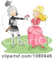 Clipart Knight Giving A Princess Flowers Royalty Free Vector Illustration