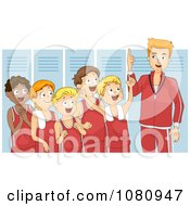 Clipart Coach Giving His Team A Pep Talk In A Locker Room Royalty Free Vector Illustration