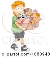 Clipart Charitable Boy Donating A Box Of Toys Royalty Free Vector Illustration by BNP Design Studio