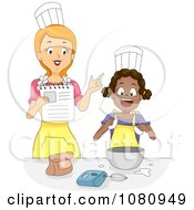 Clipart Home Economics Teacher Instructing A Girl Royalty Free Vector Illustration