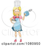 Clipart Chef Girl Holding A Mixer And Bowl Royalty Free Vector Illustration