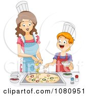 Home Economics Teacher Topping A Pizza With A Boy