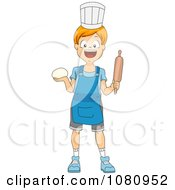 Chef Boy Holding Dough And A Rolling Pin