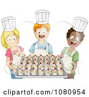 Clipart Baking Club Kids Holding A Tray Of Cupcakes Royalty Free Vector Illustration