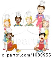 Clipart Home Economics Class And Teacher Around A Blank Sign Royalty Free Vector Illustration