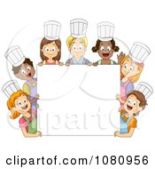 Diverse Kids Wearing Chef Hats Around A Blank Sign