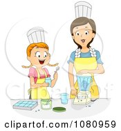 Clipart Home Economics Teacher Showing A Girl How To Use A Blender Royalty Free Vector Illustration by BNP Design Studio