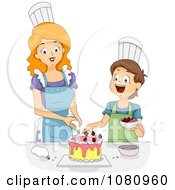 Clipart Home Economics Teacher Helping A Boy Decorate A Cake Royalty Free Vector Illustration