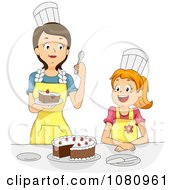 Clipart Home Economics Teacher Tasting A Girls Cake Royalty Free Vector Illustration by BNP Design Studio
