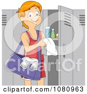 Clipart Teen Boy Athlete Standing By His Gym Locker Royalty Free Vector Illustration