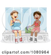 Clipart Teen Athletes In A Gym Locker Room Royalty Free Vector Illustration
