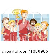 Clipart Victorious Coach And Team Holding A Trophy In A Locker Room Royalty Free Vector Illustration by BNP Design Studio