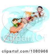 Clipart Stick Kids On A Roller Coaster Ride Royalty Free Vector Illustration by BNP Design Studio