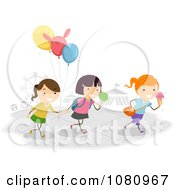 Clipart Stick Kids With Balloons And Sweets At A Theme Park Royalty Free Vector Illustration
