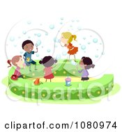 Clipart Stick Kids Blowing Bubbles Royalty Free Vector Illustration by BNP Design Studio