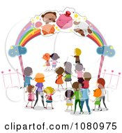 Clipart Stick People Entering A Theme Park Royalty Free Vector Illustration