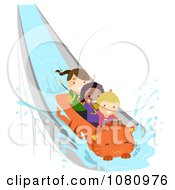 Clipart Stick Kids On A Cat Splash Water Ride Royalty Free Vector Illustration