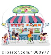 Clipart Stick Kids Shopping At A Toy Store Kiosk Royalty Free Vector Illustration