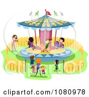 Clipart Stick Kids On A Merry Go Round Carousel Royalty Free Vector Illustration by BNP Design Studio