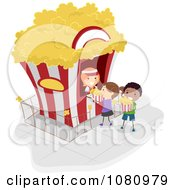 Clipart Stick Kids Ordering Popcorn From A Kiosk Royalty Free Vector Illustration