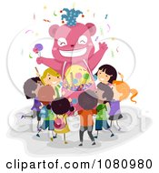 Clipart Stick Kids At A Bear Candy Kiosk Royalty Free Vector Illustration