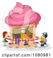 Clipart Stick Poeple Ordering Ice Cream From A Kiosk Royalty Free Vector Illustration