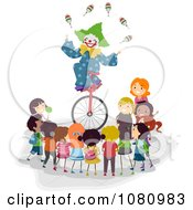 Clipart Stick Kids Watching A Clown Juggle On A Unicycle Royalty Free Vector Illustration by BNP Design Studio