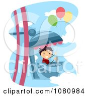Clipart Stick Boy With Balloons On A Ferris Wheel Ride Royalty Free Vector Illustration by BNP Design Studio